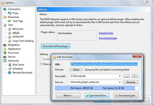 BitComet - Downloading and installing the eMule plug-in