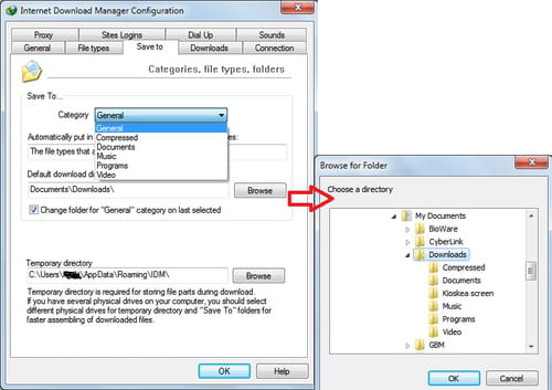 IDM - change the default folder for your downloads