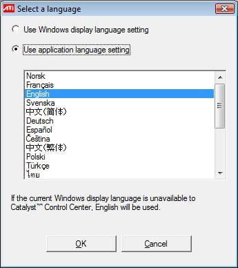 ATI Catalyst Control Center - Change language settings