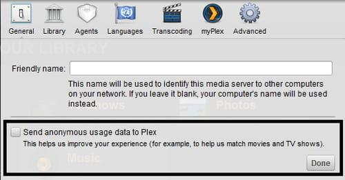 Plex Media Server - Disable the sending of usage data