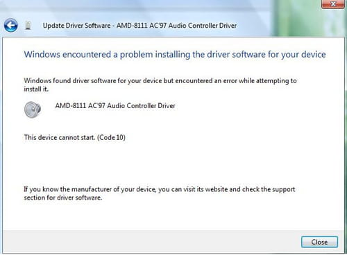Sound Driver This Device Cannot Start Code 10
