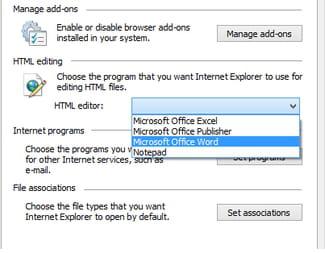 Internet Explorer - Choose the default HTML editor