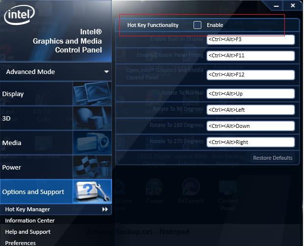 Disable Hot Keys on Intel Graphics