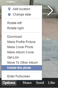 How to delete photos on facebook in the menu bar that displays simply click on options delete this photo ccuart Gallery