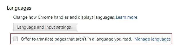 Google Chrome - Disable the Translation of Foreign Language