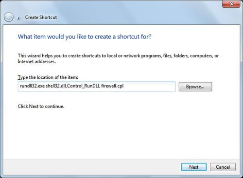Windows 7 - Creating a shortcut the Firewall settings