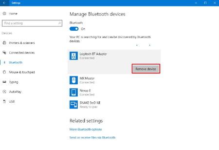 remove a bluetooth device