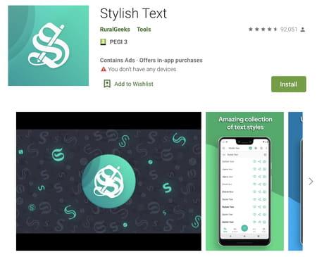 Stylish text screenshot