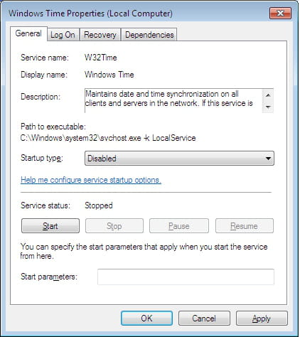 Windows 7 Ultimate - Prevent system from updating time settings
