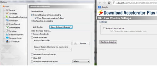 Download Accelerator Plus - Disable the link checker feature