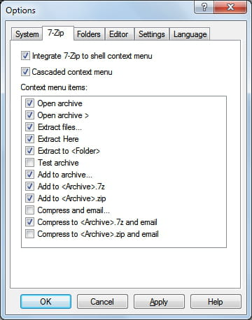 7-Zip - Customize context menu options