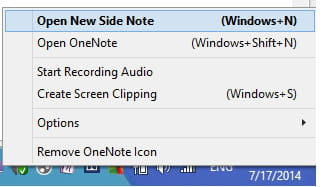 How to set the default action for the OneNote tray icon
