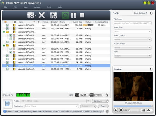 Download the latest version of 4Media MOV to MP4 Converter