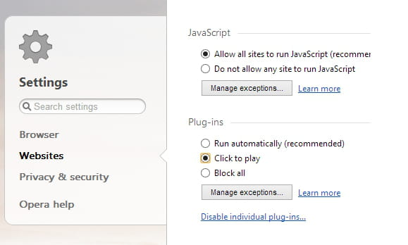 Opera - Enable the plugins click-to-play mode