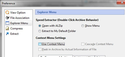 AlZip - Disable from context menu options