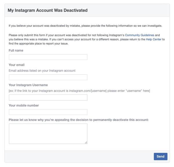 Instagram disabled form