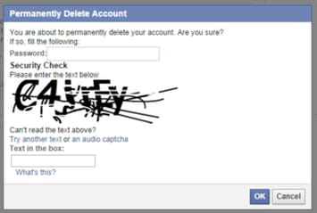 How to delete a facebook account click delete my account you will then be required to enter your password and a capcha ccuart Image collections