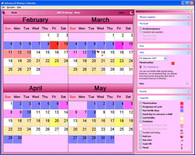 Advanced woman calendar free download.