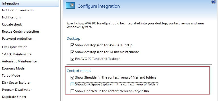AVG PC TuneUp - Configure the options displayed in the context menu