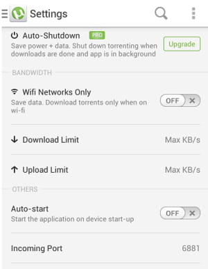 uTorrent for Android - How to change the incoming TCP port