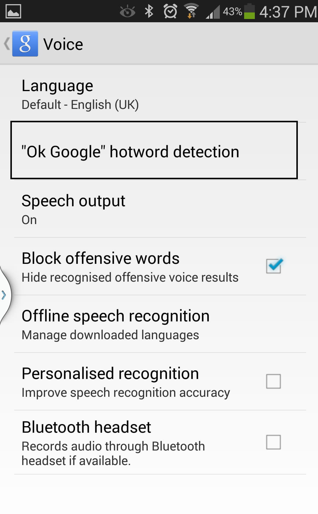 Disable The OK Google Hotword Detection
