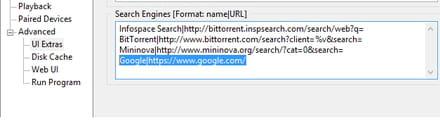 BitTorrent - Change the default search engine