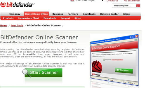 Online scan with BitDefender