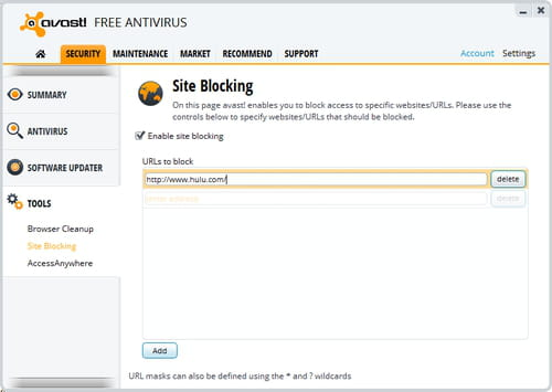 Avast create a website blacklist for Websites you can draw on