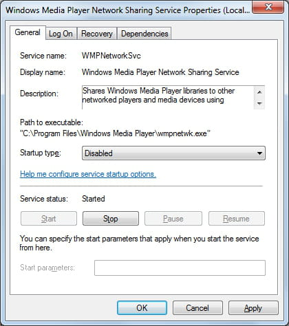 Windows - Disable Windows Media Player Network Sharing