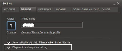 Steam - Display timestamps in chat log