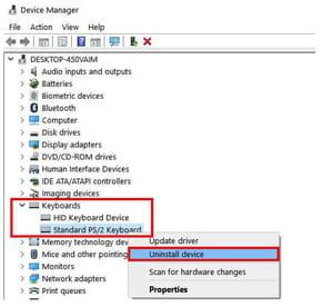 uninstall keyboard drivers