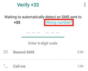 WhatsApp wrong number screenshot