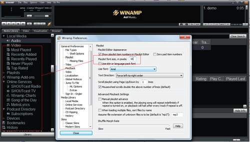 Winamp Change The Size Of The Fonts For Your Playlist