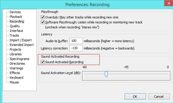 Audacity - How to enable the Sound Activate Recording feature
