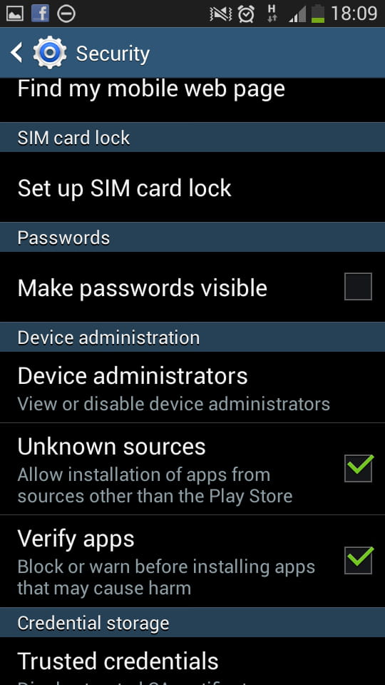 Samsung Galaxy S4 - Allow the installation of apps from