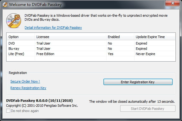 Download the latest version of DVDFab Passkey Lite free in
