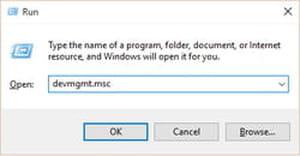 device manager windows 10 run menu
