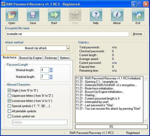 advanced rar password recovery 1.20