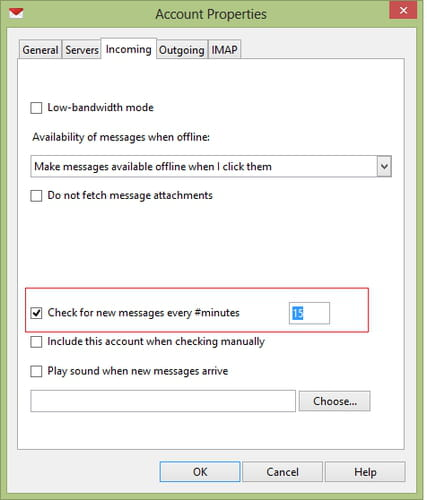 Set the frequency after which Opera Mail check for new mails