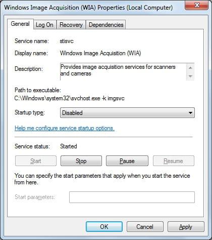 Windows 7 - Disable the Windows Image Acquisition service
