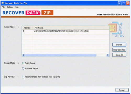 Download the latest version of ZIP File Recovery Software free in