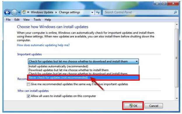 automatic updating windows 7