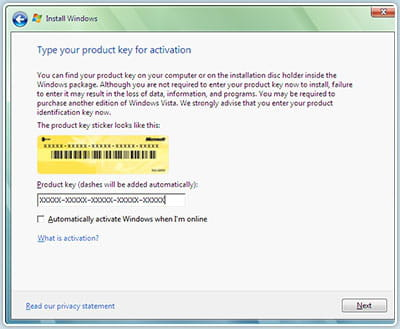 windows vista activation key