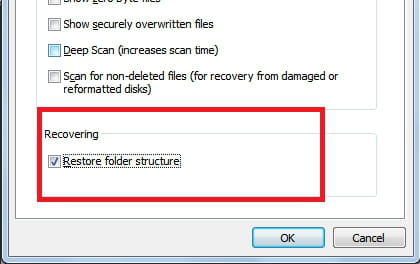 Recuva - Restore folder structure