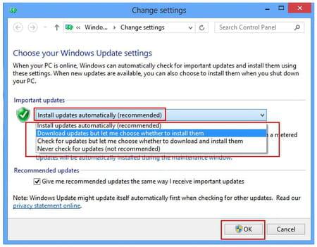 turn off automatic updates windows 8