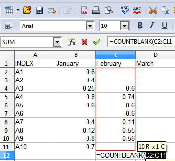 Open Office Calc - Count the number of empty cells in a range