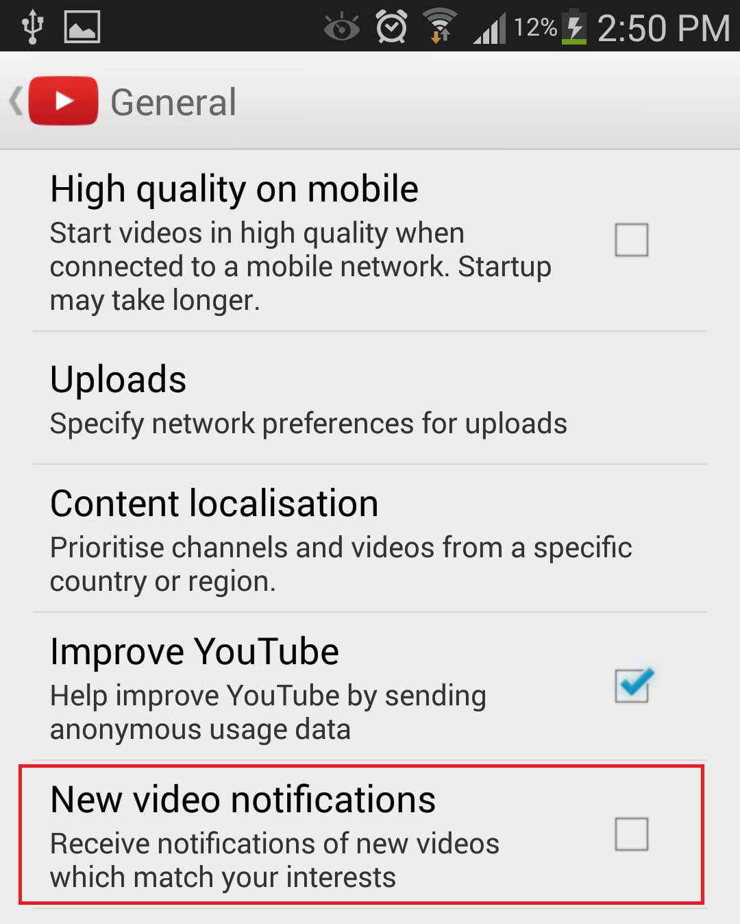How to disable notifications for new youtube videos on android go to the general section and uncheck new video notifications ccuart Choice Image