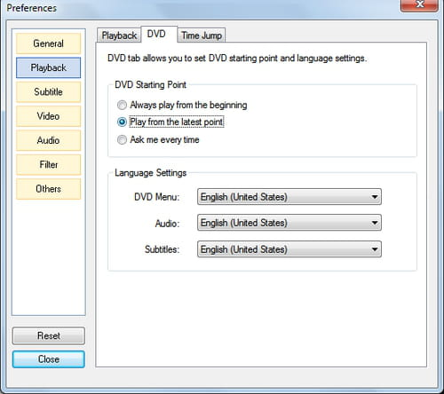 Gomplayer - Always resume DVD playback from the latest point.
