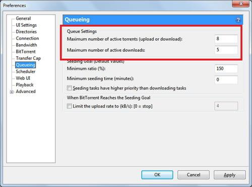 BitTorrent -Maximum number of torrent and active downloads