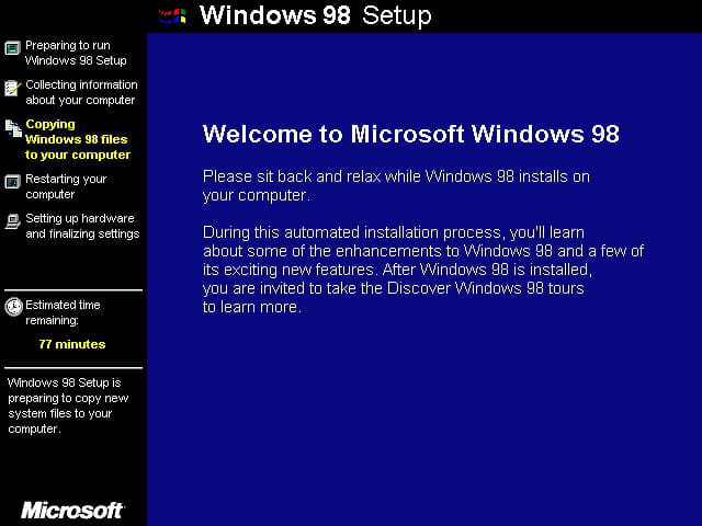 how to install win 98 to usb